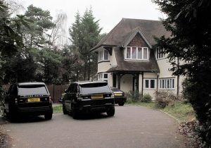 Adegboyegas home in the UK with Range Rovers